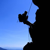 Silke abseiling on the ridge