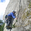 Neil doing a spot of crack climbing...