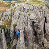 Neil and Dave climbing on Pillar Rock
