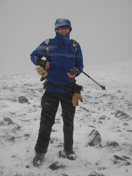 Graham standing up to the elements on Carn a' Chlamain