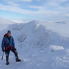 Scott at the top of the ridge with Coire an t-Sneachda behind