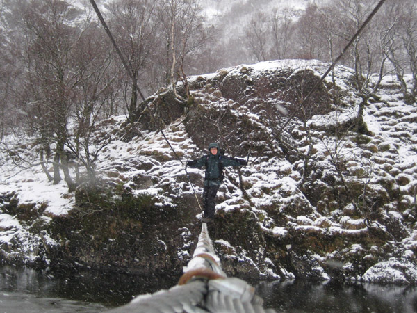Craig on the wire bridge at Steall