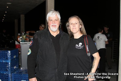 """Shooting the """"A Night for the Oceans"""" Sea Shepherd fund raiser event in Los Angeles, CA in 2010.  Posing with Captain Paul Watson. Photo by Kadi Thingvall"""