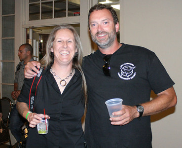 Posing with former Sea Shepherd Deputy CEO, Chuck Swift, at the annual 2010 Sea No Evil Art Show fund raiser event in Downtown Riverside, CA. Photo by Kadi Thingvall.