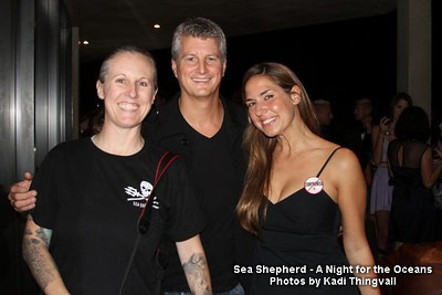 """Shooting the """"A Night for the Oceans"""" Sea Shepherd fund raiser event in Los Angeles, CA in 2010.  Posing with two very amazing people and friends...Alec Pedersen and Deborah Bassett. Photo by Kadi Thingvall"""