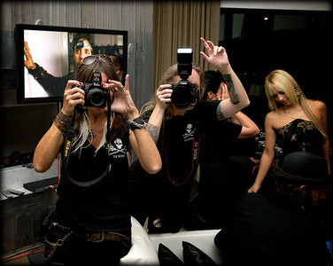 """Shooting the """"A Night for the Oceans"""" Sea Shepherd fund raiser event in Los Angeles, CA in 2010 (that's me with my hand up). Photo by Brigitte Bard"""