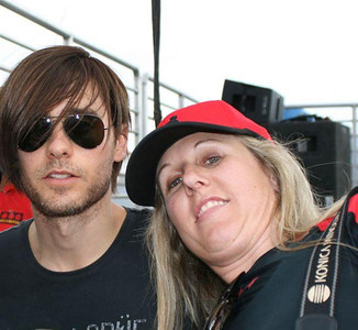 On location with 30 Seconds to Mars frontman, Jared Leto, at the Fontana Speedway in Fontana, CA for a special 30 Seconds to Mars concert.  This was during the Summer of 2007...and it was117 degrees! Photo by Kadi Thingvall.