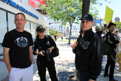"""Shooting for the """"S.O.S. Save Our Skipper Day - Los Angeles Rally"""" - May 23, 2012, which gathered supporters around the world calling for the immediate release of Captain Paul Watson of Sea Shepherd while he was being held in Germany.  Captain Paul Watson was later released.  Photo by Deborah Bassett."""