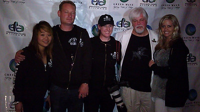 """Red carpet shoot with fellow Sea Shepherds: Grace Ko, David Hance, Captain Paul Watson and Farrah Smith after the Santa Monica, CA Premiere of Animal Planet's Season 4 of """"Whale Wars"""" in June 2011."""