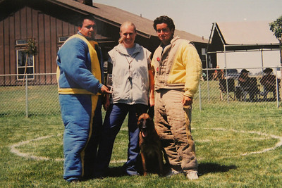 With French Ring decoys, Jose Lopez (left) and Joe Cinnante (right) with Brassai after our 2nd Place Ring I accomplishment at a BARC trial in San Francisco, CA in 2004.  Photo by Arnaud Le Maguer.