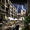 Urban Tiger Apocalypse. A tiger walking through urban ruins in a post-apocalypse like setting.