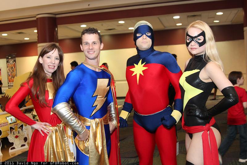 Mary Marvel, Captain Marvel Jr., Captain Marvel, and Ms. Marvel