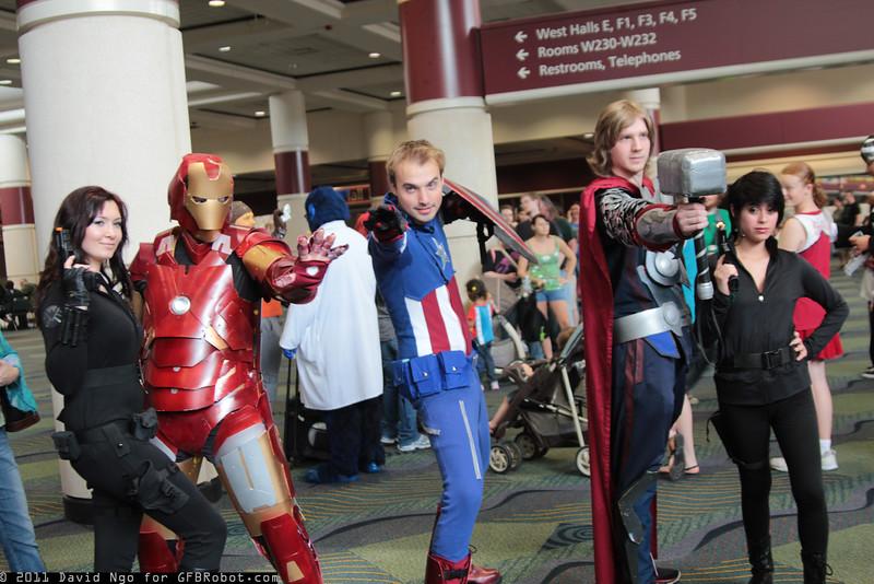 Black Widow, Iron Man, Captain America, Thor, and Maria Hill