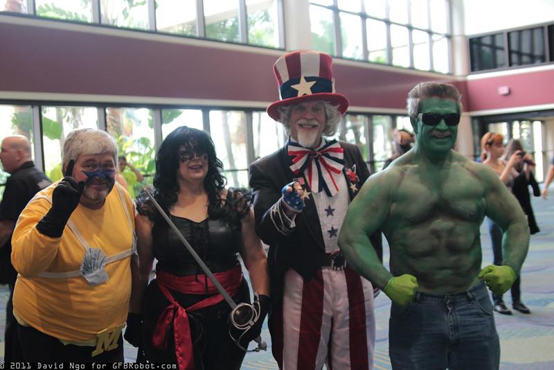 Mermaid Man, Zorro, Uncle Sam, and Hulk