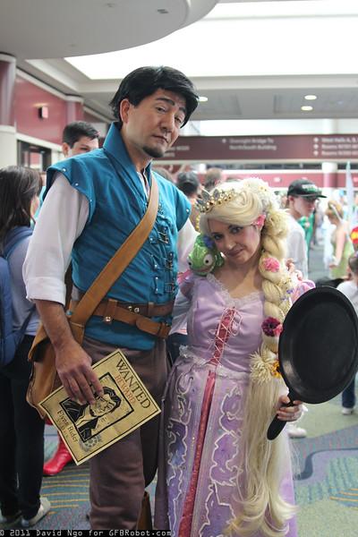 Flynn Rider, Rapunzel, and Pascal