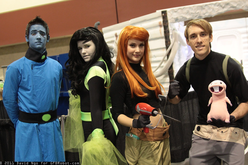 Dr. Drakken, Shego, Kim Possible, Ron Stoppable, and Rufus