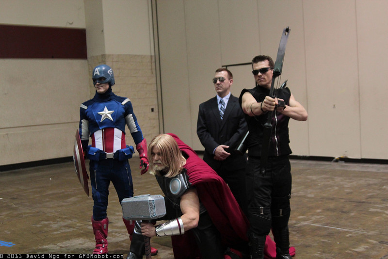 Captain America, Thor, Agent Phil Coulson, and Hawkeye