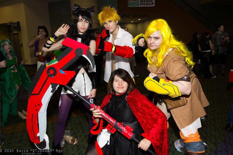 Blake Belladonna, Sun Wukong, Ruby Rose, and Yang Xiao Long