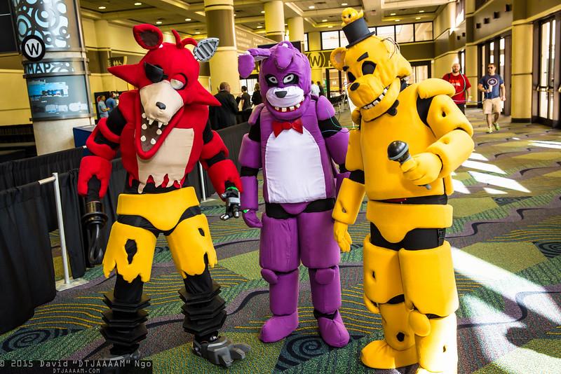Foxy, Bonnie, and Freddy Fazbear