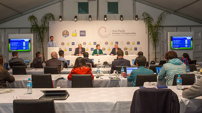 Press conference on Play Day 1 of the Asia-Pacific Amateur Championship tournament 2017 held at Royal Wellington Golf Club, in Heretaunga, Upper Hutt, New Zealand from 26 - 29 October 2017. Copyright John Mathews 2017.   www.megasportmedia.co.nz