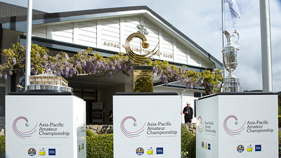 The three trophies (Masters Trophy, Asia-Pacific Trophy and the Claret Jug) on display on the 1st day of competition in the Asia-Pacific Amateur Championship tournament 2017 held at Royal Wellington Golf Club, in Heretaunga, Upper Hutt, New Zealand from 26 - 29 October 2017. Copyright John Mathews 2017.   www.megasportmedia.co.nz
