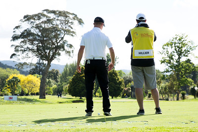 Daniel Hillier from New Zealand and his caddy contemplating the shot required on the 8th hole on the 2nd day of competition  in the Asia-Pacific Amateur Championship tournament 2017 held at Royal Wellington Golf Club, in Heretaunga, Upper Hutt, New Zealand from 26 - 29 October 2017. Copyright John Mathews 2017.   www.megasportmedia.co.nz