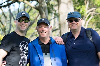 Grant Watkins (middle) with two other spectators on the 2nd day of competition  in the Asia-Pacific Amateur Championship tournament 2017 held at Royal Wellington Golf Club, in Heretaunga, Upper Hutt, New Zealand from 26 - 29 October 2017. Copyright John Mathews 2017.   www.megasportmedia.co.nz