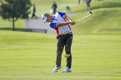 Yu Chun-an from Chinese Taipei hitting his second shot into the green on the 1st hole on Day 3 of the Asia-Pacific Amateur Championship tournament 2017 held at Royal Wellington Golf Club, in Heretaunga, Upper Hutt, New Zealand from 26 - 29 October 2017. Copyright John Mathews 2017.   www.megasportmedia.co.nz
