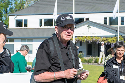 Volunteer scorer Horst Pauliet at the 1st tee on Day 3 of the Asia-Pacific Amateur Championship tournament 2017 held at Royal Wellington Golf Club, in Heretaunga, Upper Hutt, New Zealand from 26 - 29 October 2017. Copyright John Mathews 2017.   www.megasportmedia.co.nz