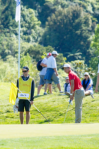 Andy Zhang from China putting on the 4th green on Day 3 of the Asia-Pacific Amateur Championship tournament 2017 held at Royal Wellington Golf Club, in Heretaunga, Upper Hutt, New Zealand from 26 - 29 October 2017. Copyright John Mathews 2017.   www.megasportmedia.co.nz