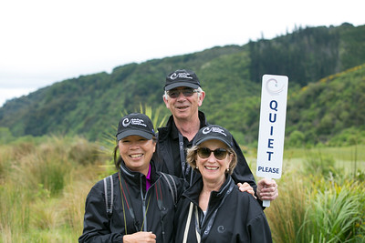 Marina Wilson and a friend being given the message by Graham Kershaw en route from the 4th green to the next tee on the  final day of the  Asia-Pacific Amateur Championship tournament 2017 held at Royal Wellington Golf Club, in Heretaunga, Upper Hutt, New Zealand from 26 - 29 October 2017. Copyright John Mathews 2017.   www.megasportmedia.co.nz
