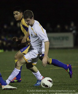 Daniel Carbonetto-Bowkett with the ball at the Wellington Boys Youth Championship Premier Football Final (Trevor Rigby Cup)  between Wellington College and Rongatai College played at Wellington College, Wellington, New Zealand on 23 August 2012. Photo: john.mathews @xtra.co.nz