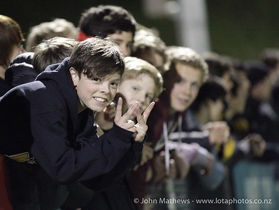 Wellington College supporters during the Wellington Boys Youth Championship Premier Football Final (Trevor Rigby Cup)  between Wellington College and Rongatai College played at Wellington College, Wellington, New Zealand on 23 August 2012. Photo: john.mathews @xtra.co.nz