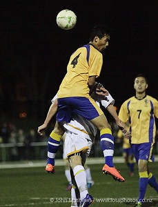 Pagna Ear contesting the ball in the Wellington Boys Youth Championship Premier Football Final (Trevor Rigby Cup)  between Wellington College and Rongatai College played at Wellington College, Wellington, New Zealand on 23 August 2012. Photo: john.mathews @xtra.co.nz