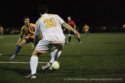 Pier Simonetti with the ball at the Wellington Boys Youth Championship Premier Football Final (Trevor Rigby Cup)  between Wellington College and Rongatai College played at Wellington College, Wellington, New Zealand on 23 August 2012. Photo: john.mathews @xtra.co.nz