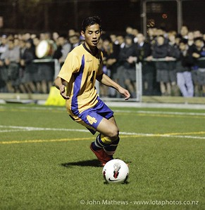 Pagna Ear with the ball at the Wellington Boys Youth Championship Premier Football Final (Trevor Rigby Cup)  between Wellington College and Rongatai College played at Wellington College, Wellington, New Zealand on 23 August 2012. Photo: john.mathews @xtra.co.nz