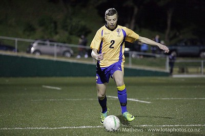 Sam Wheatley in action at the Wellington Boys Youth Championship Premier Football Final (Trevor Rigby Cup)  between Wellington College and Rongatai College played at Wellington College, Wellington, New Zealand on 23 August 2012. Photo: john.mathews @xtra.co.nz