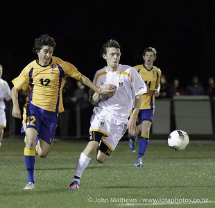 Seb Ninness and Alex Brodie at the Wellington Boys Youth Championship Premier Football Final (Trevor Rigby Cup)  between Wellington College and Rongatai College played at Wellington College, Wellington, New Zealand on 23 August 2012. Photo: john.mathews @xtra.co.nz