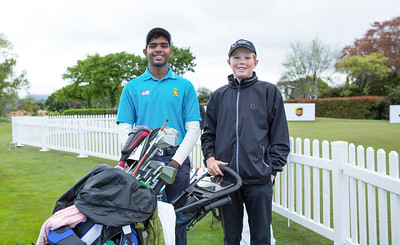 Rhaasrikanesh Kanavathi from Malaysia with his caddy) on the 1st day of competition in the Asia-Pacific Amateur Championship tournament 2017 held at Royal Wellington Golf Club, in Heretaunga, Upper Hutt, New Zealand from 26 - 29 October 2017. Copyright John Mathews 2017.   www.megasportmedia.co.nz