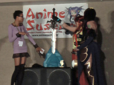 This Frostmourne sword is awarded to Best Prop: Shanoa from Castlevania