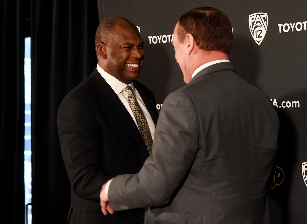 . BOULDER, CO: December 6: New coach, Mel Tucker, with CU AD, Rick George. New CU head football coach, Mel Tucker, is introduced at the Dal Ward Center at the University of Colorado on December 6, 2018. (Photo by Cliff Grassmick/Staff Photographer)