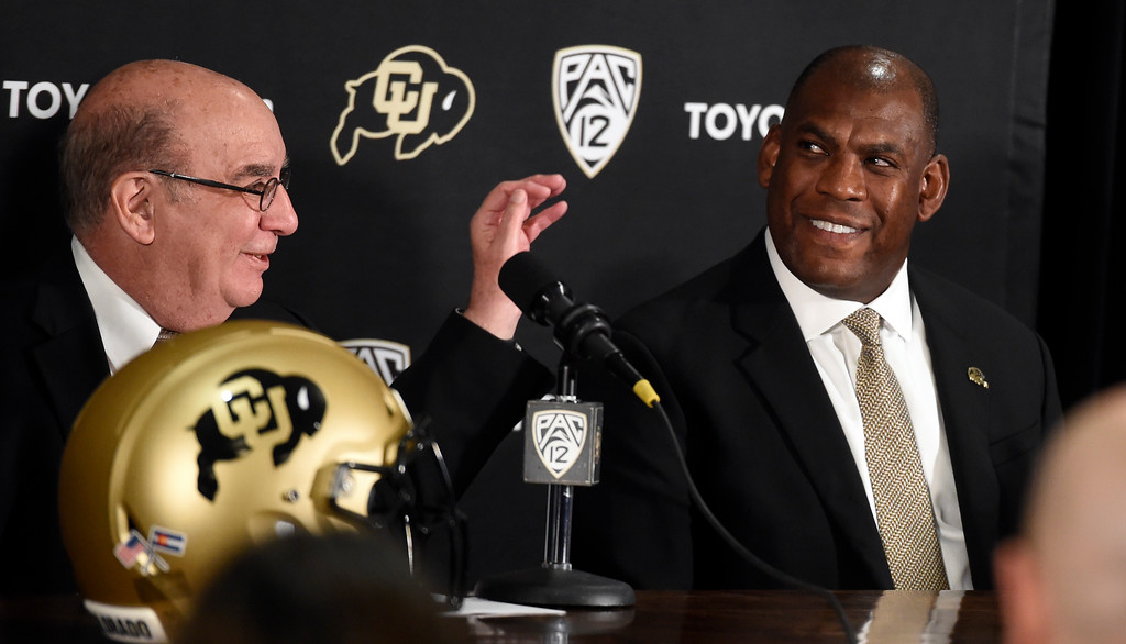 . BOULDER, CO: December 6:  CU Chancellor, Phil DiStefano, with new coach, Mel Tucker, at the press conference.New CU head football coach, Mel Tucker, is introduced at the Dal Ward Center at the University of Colorado on December 6, 2018. (Photo by Cliff Grassmick/Staff Photographer)