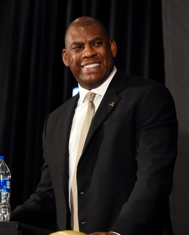 . BOULDER, CO: December 6:  New CU head football coach, Mel Tucker, is introduced at the Dal Ward Center at the University of Colorado on December 6, 2018. (Photo by Cliff Grassmick/Staff Photographer)