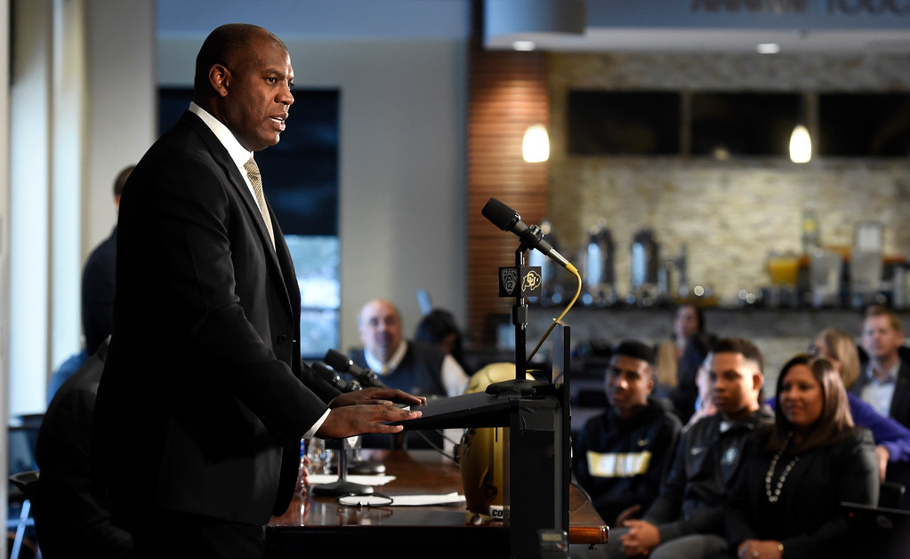 . BOULDER, CO: December 6:  New CU head football coach, Mel Tucker, is introduced at the Dal Ward Center at the University of Colorado on December 6, 2018. His family is on the right. (Photo by Cliff Grassmick/Staff Photographer)
