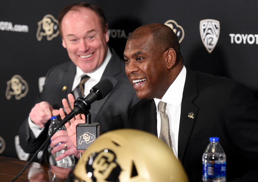 . BOULDER, CO: December 6: CU AD, Rick George, left, and new coach, Mel Tucker, at intro press conference. New CU head football coach, Mel Tucker, is introduced at the Dal Ward Center at the University of Colorado on December 6, 2018. (Photo by Cliff Grassmick/Staff Photographer)