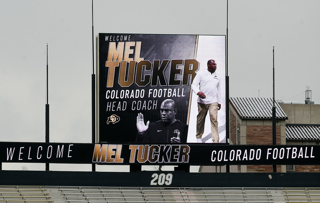 . BOULDER, CO - December 6, 2018: The Folsom Field scoreboard welcomes the new coach. The Colorado Buffaloes introduced their new head football coach, Mel Tucker, on December 6, 2018.(Photo by Cliff Grassmick/Staff Photographer)