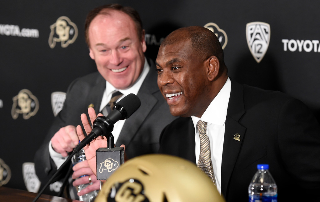 . BOULDER, CO: December 6: CU AD, Rick George, and new coach, Mel Tucker, during the press conference.   New CU head football coach, Mel Tucker, is introduced at the Dal Ward Center at the University of Colorado on December 6, 2018. (Photo by Cliff Grassmick/Staff Photographer)