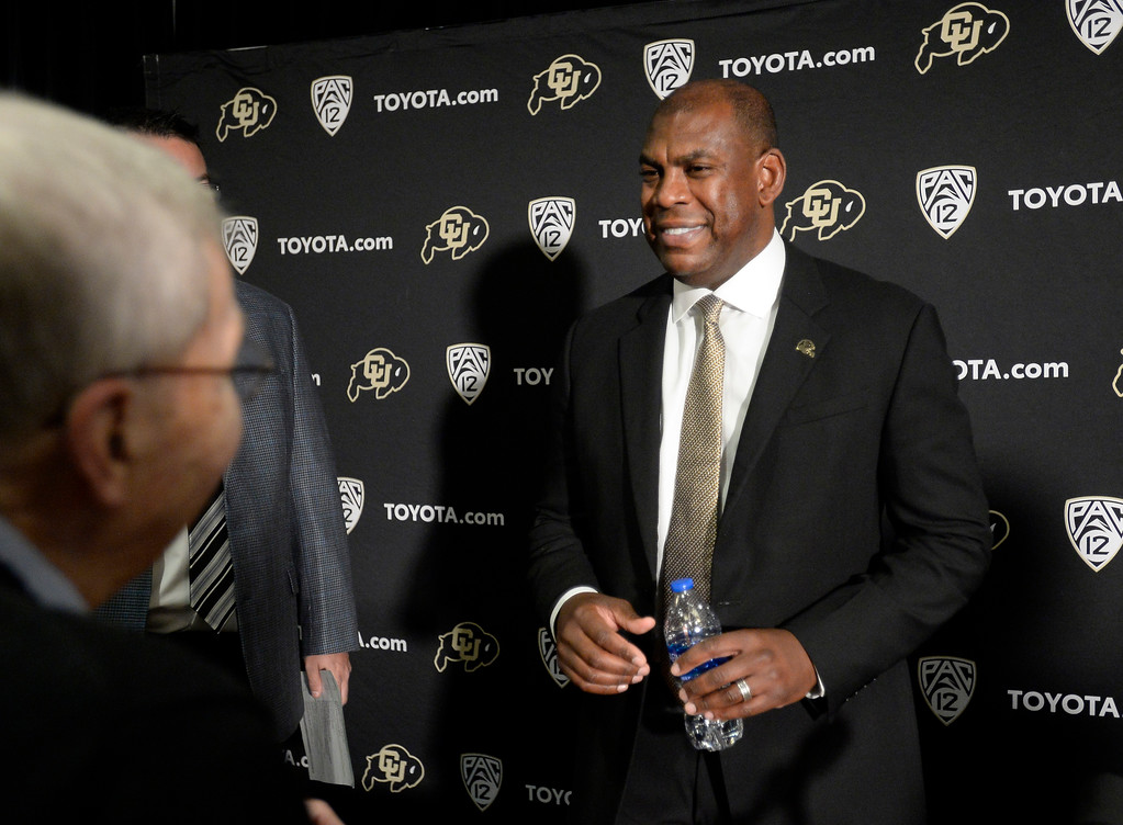 . BOULDER, CO - December 6, 2018: Larry Zimmer, left, meets Mel Tucker. The Colorado Buffaloes introduced their new head football coach, Mel Tucker, on December 6, 2018.(Photo by Cliff Grassmick/Staff Photographer)