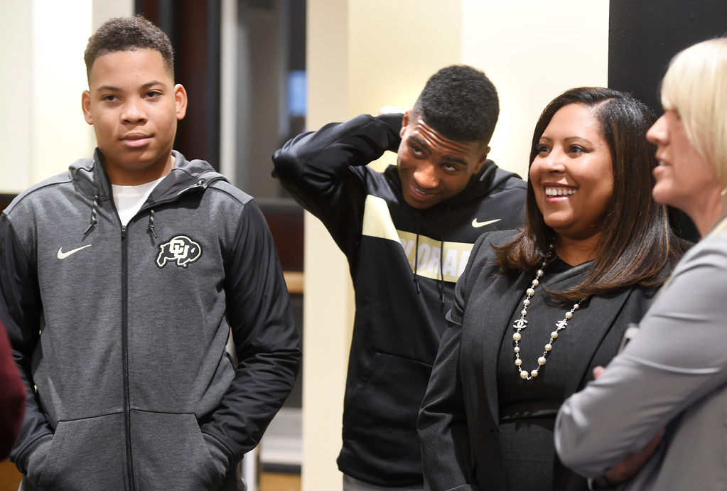 . BOULDER, CO: December 6:  Mel Tucker\'s family, sons, Christian 14, Joseph, 16, and wife Jojo, before the press conference. New CU head football coach, Mel Tucker, is introduced at the Dal Ward Center at the University of Colorado on December 6, 2018. (Photo by Cliff Grassmick/Staff Photographer)