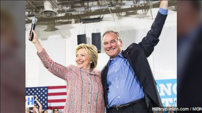 Recently nominated as Vice-President, Tim Kaine, and Hillary Clinton. Photo: MGN Online